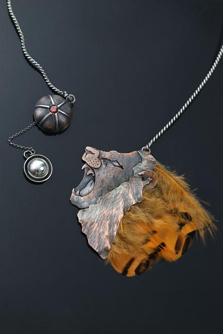 Dzikość | Sztuk Kilka | Wilderness - copper and silver pendant / necklace | Lion pendant | Feathers pendant