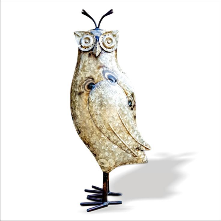 Owl Showpiece, Statue, Figurines | Recycled Iron Figure | Handcrafted Curio | Eco Friendly Sculpture
