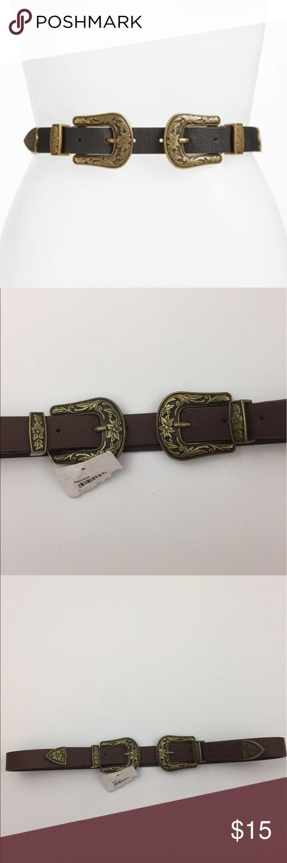 Double Buckle Belt Brown/Brass NEW NWT Small/Med Brown faux leather belt with brass colored double buckle detail. By BP (Nordstrom). New with partial tag. Best fits a small/medium. Stock photo is shown in black, just to show style. See additional pictures for color. bp Accessories Belts