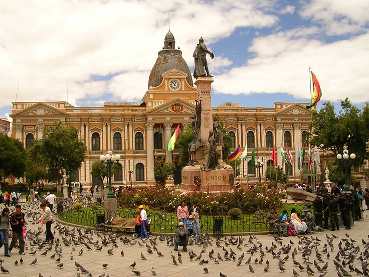 """Plaza Murillo"", the main square at La Paz, Bolivia. PS: the amount of pigeons are REAL (and scary)."