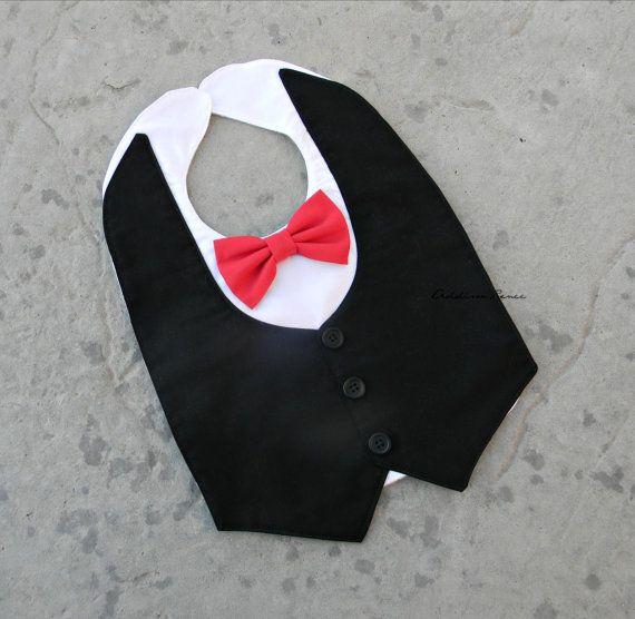 Tuxedo bib, baby bib, drooler bib TUXEDO bib in your choice of tie color on Etsy, $17.50