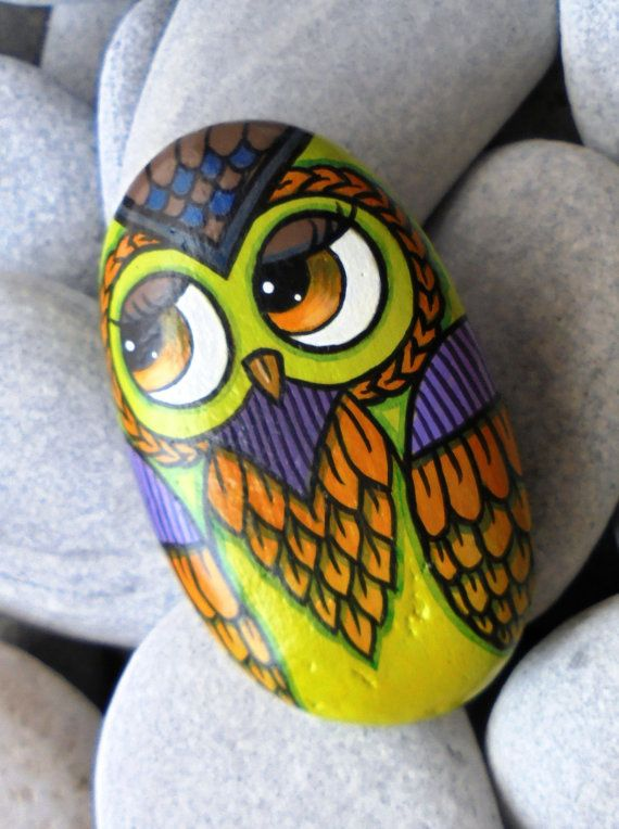 Handmade Rock Painting Owl by KanetisStones on Etsy