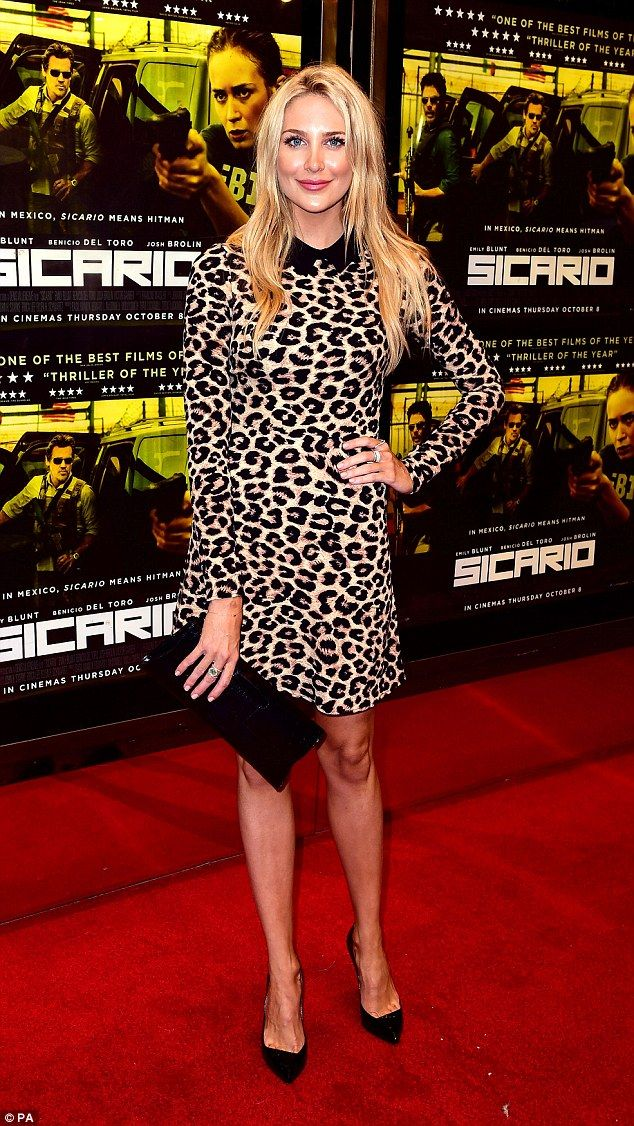 Wild thing: Made In Chelsea's Stephanie Pratt donned a cute leopard print dress with a bla...