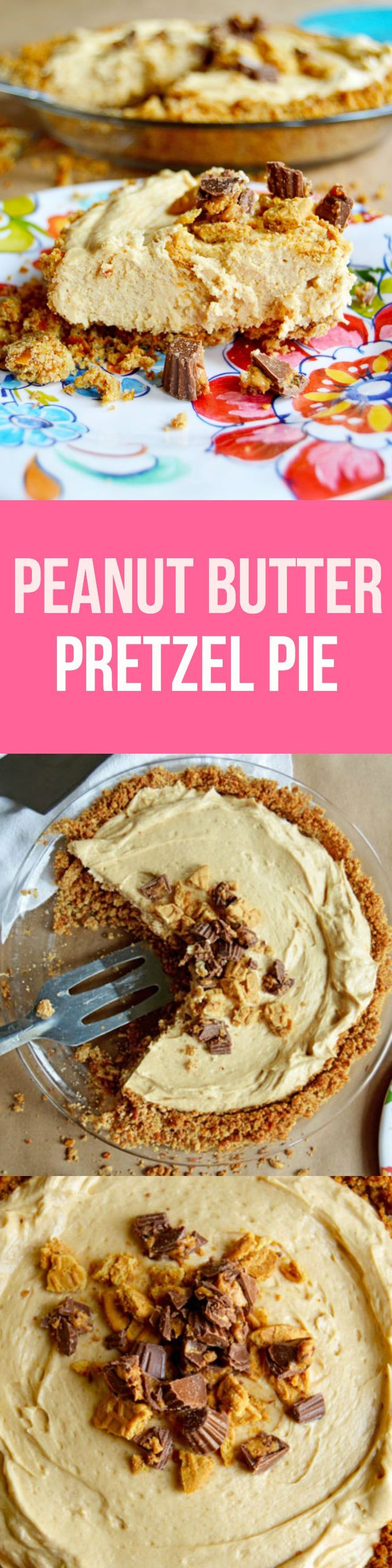 Peanut Butter Pretzel Pie - Salty pretzel & graham cracker crust, decadent peanut butter mousse filling, and peanut butter cup and Nutter Butter topping. So easy and ridiculously delicious! | www.thehungrytravelerblog.com