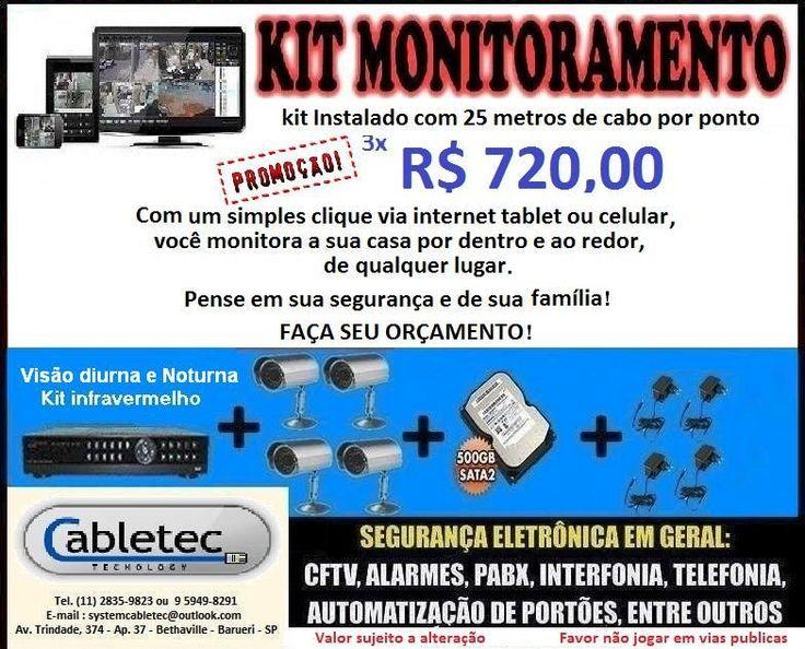 Kit Home de Monitoramento  Grande promoção Kit home de monitoramento.  Sua segurança, e de sua família em tempo real via internet tablet e celular.   Consulte nossa central e adquira o seu kit agora mesmo.