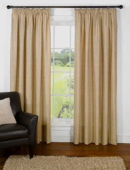 """Rattan Basket Weave Heavy Pencil Pleat Readymade Lined Cotton Curtains, Natural / Beige - 90"""" x 72"""": Amazon.co.uk: Kitchen & Home"""
