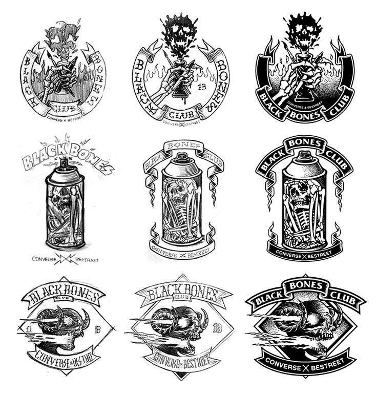 black bones club: logo process