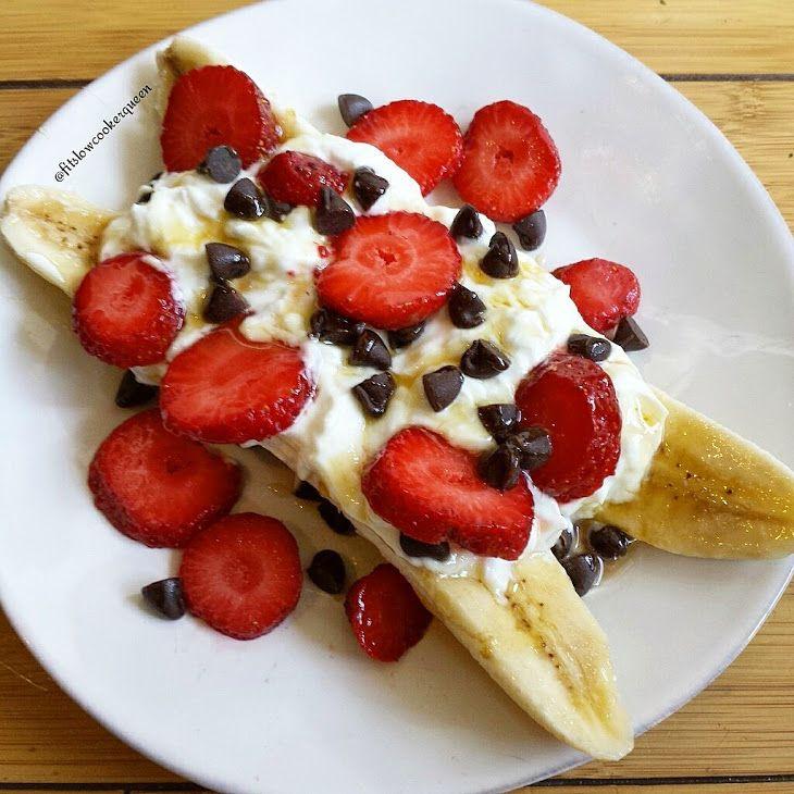 Breakfast Banana Split Recipe Breakfast and Brunch with bananas, fat free greek yogurt, strawberries, chocolate chips, honey