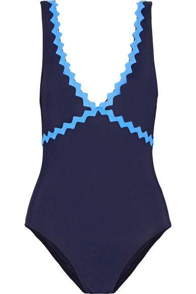 Karla Colletto - New Wave Appliquéd Swimsuit - Storm blue - US