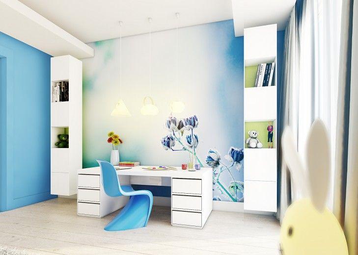 Projekt wnętrza pokoju dziecka w niebieskiej tonacji.