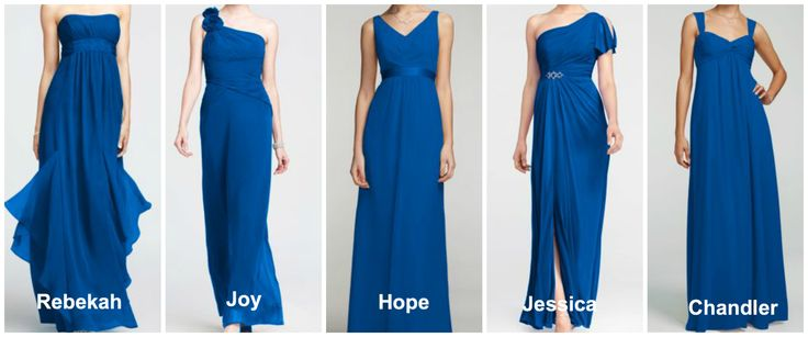 David S Bridal Horizon Blue Bridesmaid Dresses