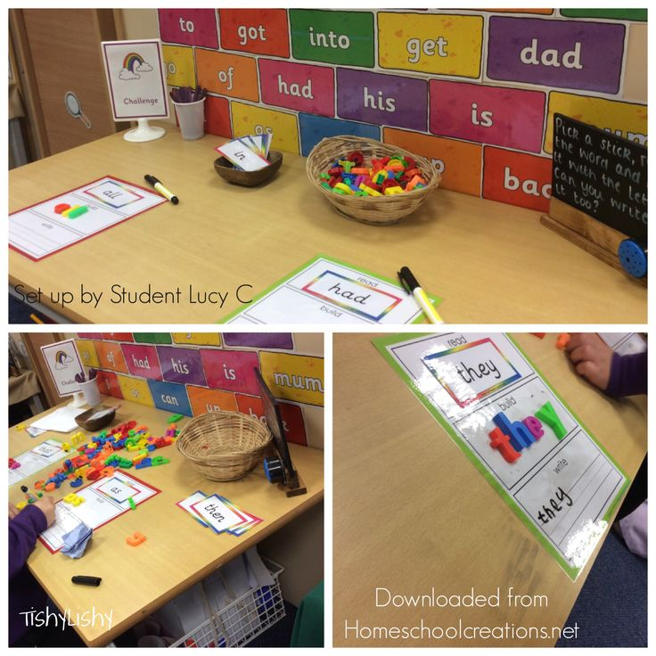 Phonic challenge activity set up by my student Lucy. Using downloads from HomeSchoolCreations.net.