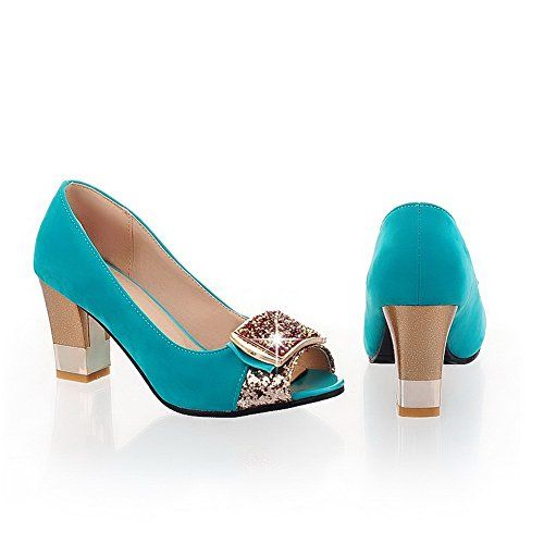 AmoonyFashion Womens Open Peep Toes Mid Heel Chunky Frosted PU Solid Pumps with Glass Diamond Cyan 10 BM US ** This is an Amazon Affiliate link. Want to know more, click on the image.