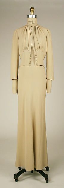 1937___ Wedding Ensemble, silk, leather, straw, coq feathers, by Mainbocher. French. MET