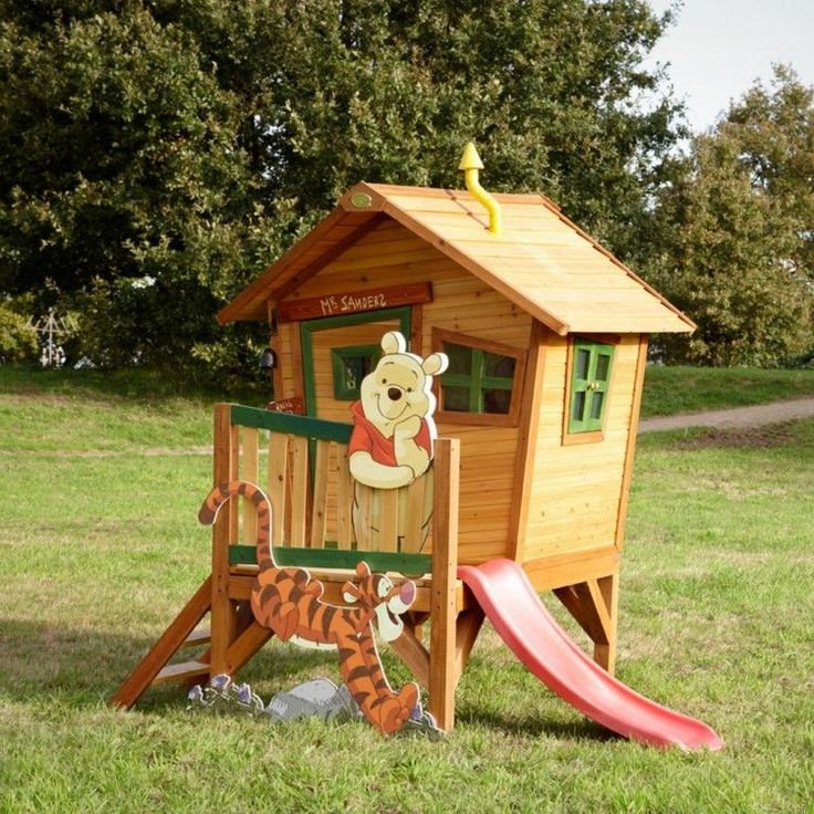 Kids Outdoor Playhouse Garden Play Backyard Wooden Activity Theme Ladder Sliding #KidsOutdoorPlayhouse