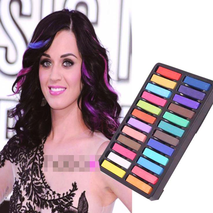 Hots cabelo crayons 24 cores lápis de cor para moda cabelo pânico Manic tintura de cabelo temporária não tóxico giz pastel Crayon Kit para DIY alishoppbrasil