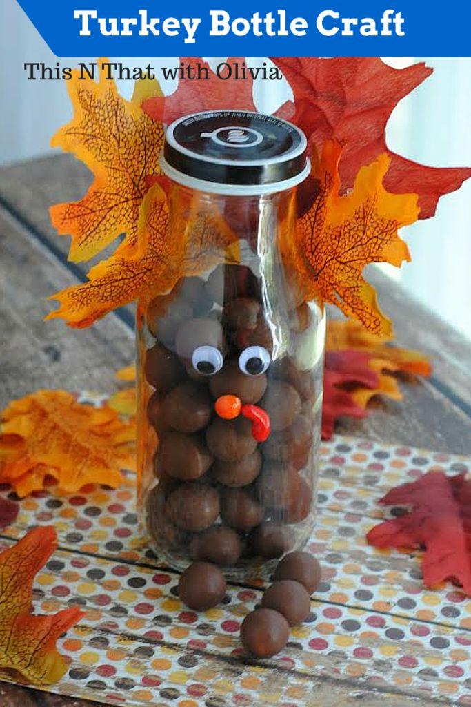 Turkey Bottle Craft #DIY #Thanksgiving #Turkey #Craft - This N That with Olivia