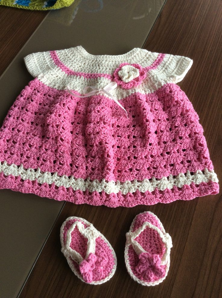 Angel top dress from 'justcrochet.com' and flip flops for my great niece Charley.