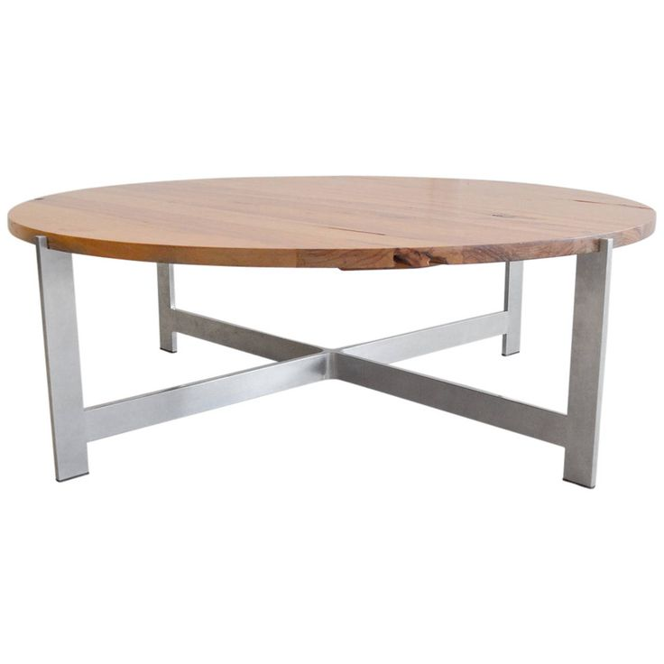 Round Wood Coffee Table with Aluminum X Base | From a unique collection of antique and modern coffee and cocktail tables at https://www.1stdibs.com/furniture/tables/coffee-tables-cocktail-tables/