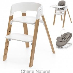 Offre Pack Steps : Chaise haute + Kit Baby Set + Tablette + Transat + Coussin greige - Stokke