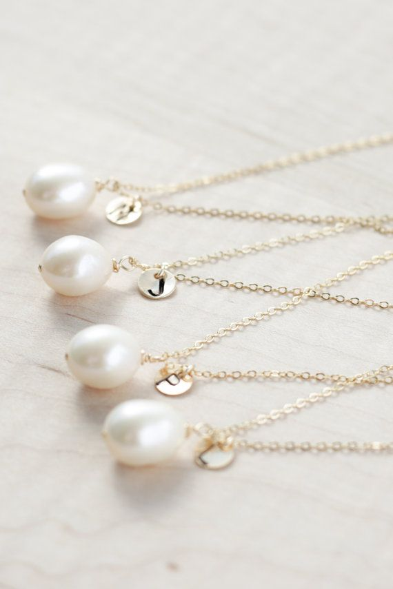 Bridesmaid Jewelry - Pearl Bridesmaid Jewelry - Bridesmaid necklace set of 5 - Bridesmaid necklace set of 4 - set of 6 (REAL FRESHWATER)