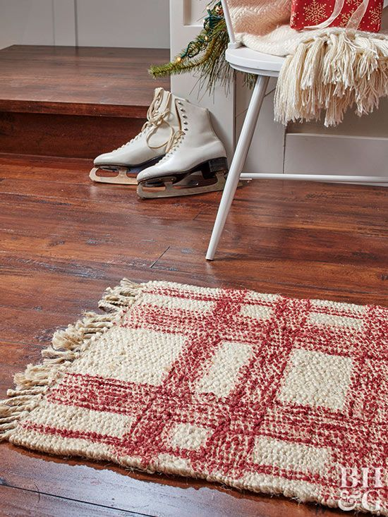 The best place to find a classic holiday rug isn't at the store; it's right at home on your craft table!