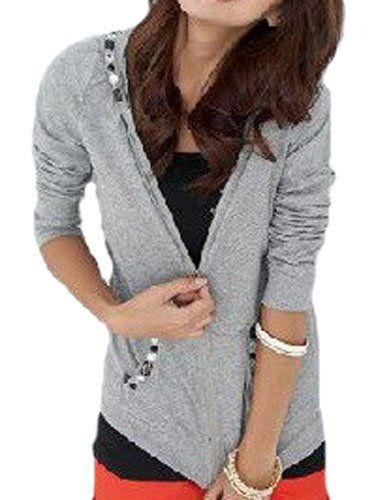 Amazon.co.jp: 「ホシキタ」レディースファッション シンプルな灰色パーカー スポーティー 無地 シンプル ジッパー ファスナー チャック: 服&ファッション小物通販