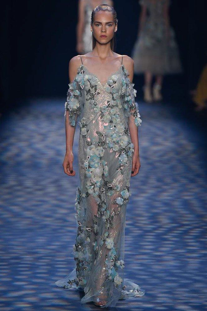 Marchesa Spring 2017 Ready-to-Wear: I like the cold shoulder detail on this dress. The teal floral appliques are present in this dress too.