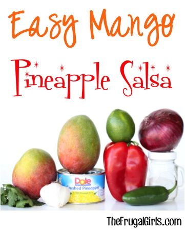 Easy Mango Pineapple Salsa Recipe! ~ from TheFrugalGirls.com ~ DELICIOUS doesn't even begin to describe how yummy this is! BEST Salsa Ever!! #homemade #recipes #thefrugalgirls