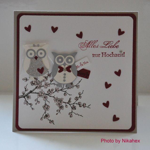 Stampin Up! Eulenstanze Hochzeitskarte mit Eulen