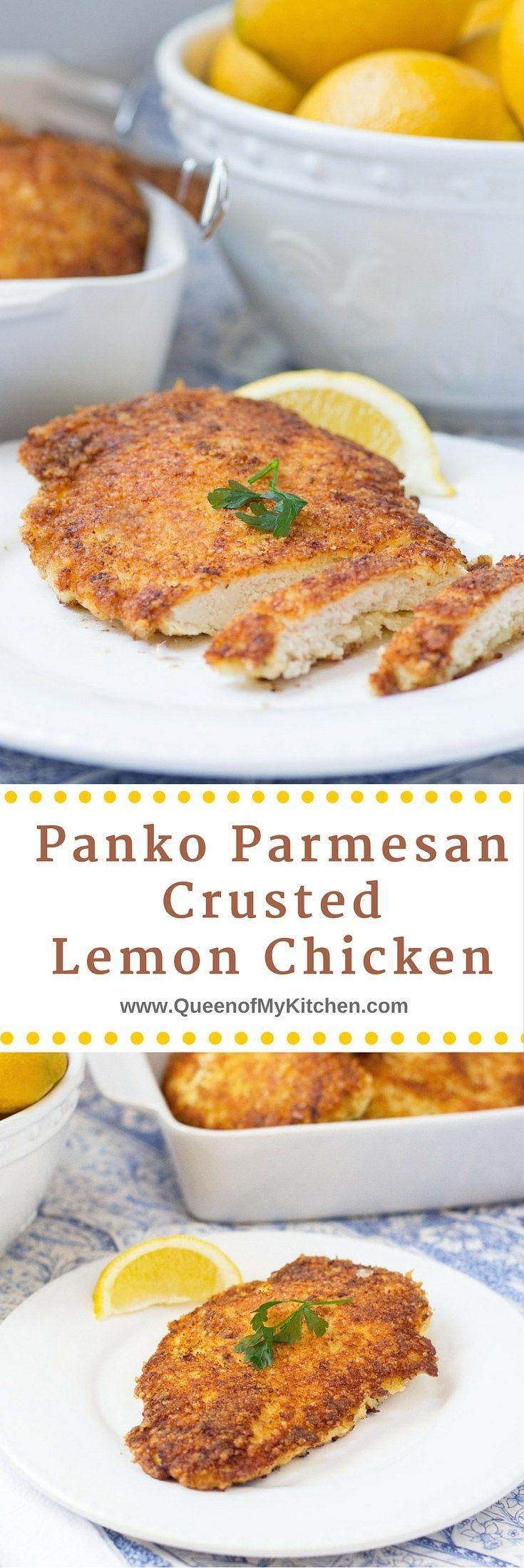 down - the best lemon chicken ever!! Panko Parmesan Crusted Lemon ...