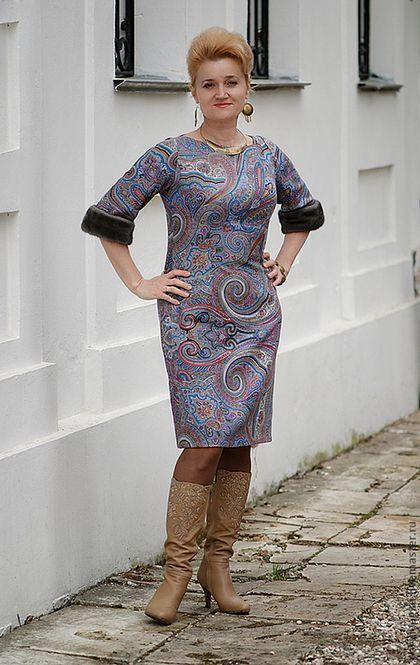 Платье ДРАГОЦЕННАЯ из П/П платка - павловопосадские платки,пейсли,платье футляр