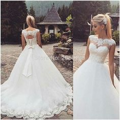 Find More Wedding Dresses Information about Fashionable Long Train Wedding Dresses 2016 Illusion Sweetheart Neckline Lace Bridal Gown Keyhole Back With Bow,High Quality dress open,China dress waistcoat Suppliers, Cheap gown evening dress from Rosaamant on Aliexpress.com