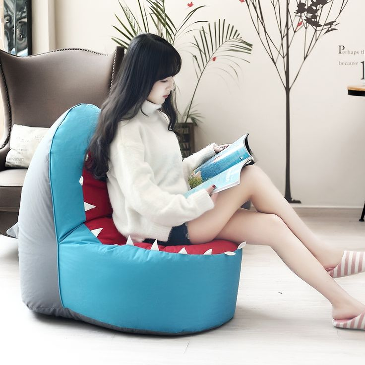 Досуг кресло мешок фасоли Диван дети одного стула Мультфильм Искусства акула Диван Ленивый Творческий Кресло-Кровать Диван диван Рис Животных сиденья