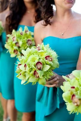 Love it!!! Green orchids color POP on aqua blue. I completely love this! and it will be gorgeous and fit perfectly with our beach wedding. Anna, Jane, you ready to wear this?