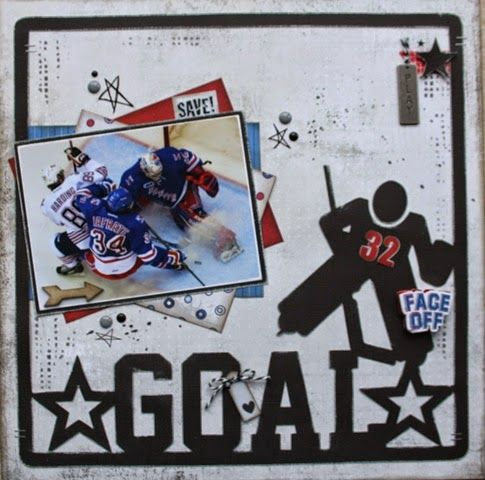 Goal Hockey Scrapbook Page by @fortysomething featuring 17turtles Digital Cut Files