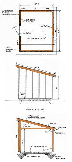 10×12 Lean To Storage Shed Plans                                                                                                                                                      More