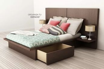 camas 2 plazas respaldo mesas de luz cajones ote muebles