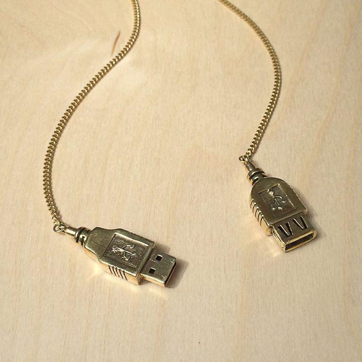 USB Lariat Brass Necklace