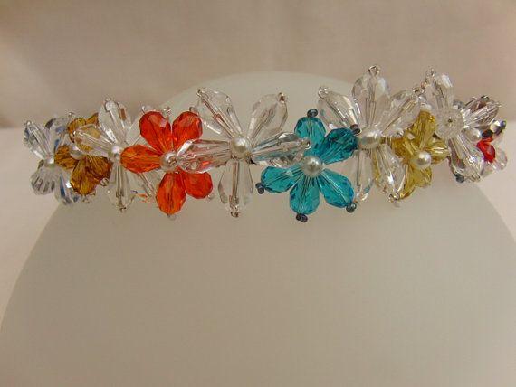 Crystal and Pearl Beaded Floral Tiara Wedding by OswestryJewels