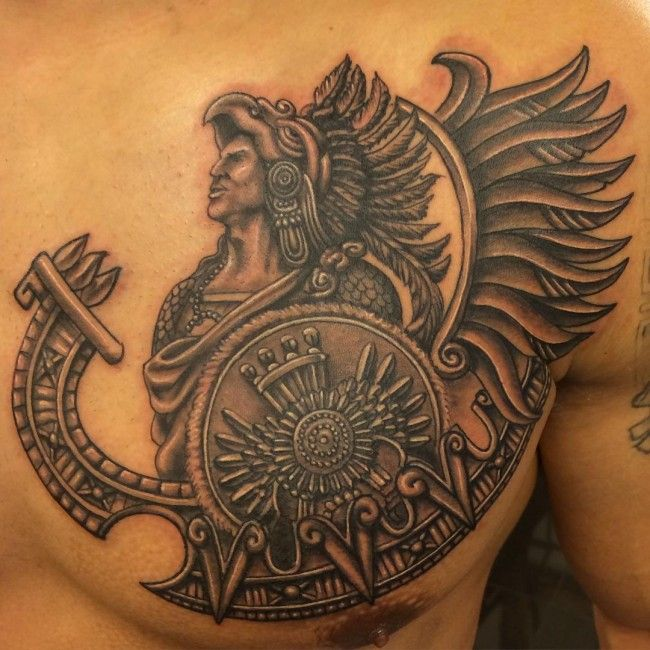 Aztec Warrior Tattoo on Man Chest