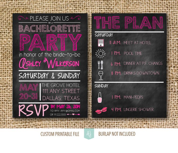 Planning a bachelorette party? Chalkboard invites are always a hit. Printable file you can get in 1-2 days! Hot pink and black hen party or bachelorette party invite with matching decor items!