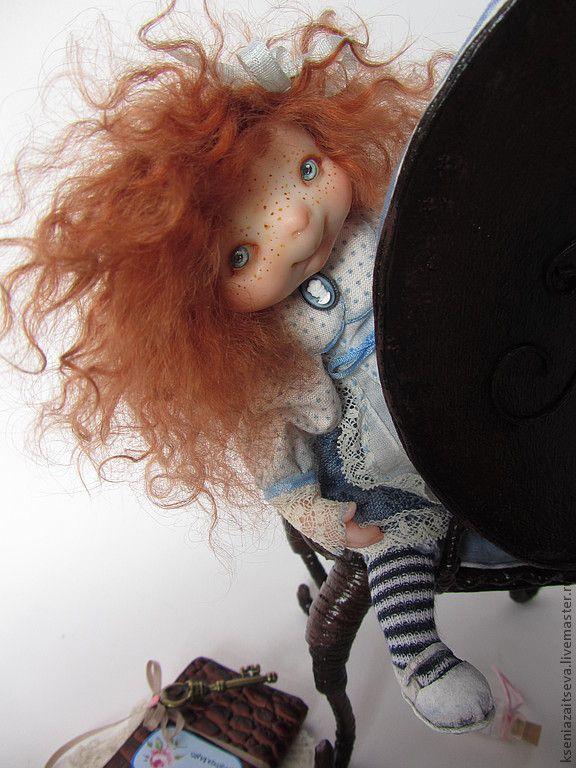 """Купить """"Алиска"""" - голубой, алиса в стране чудес, куклы ксении зайцевой, авторская кукла"""