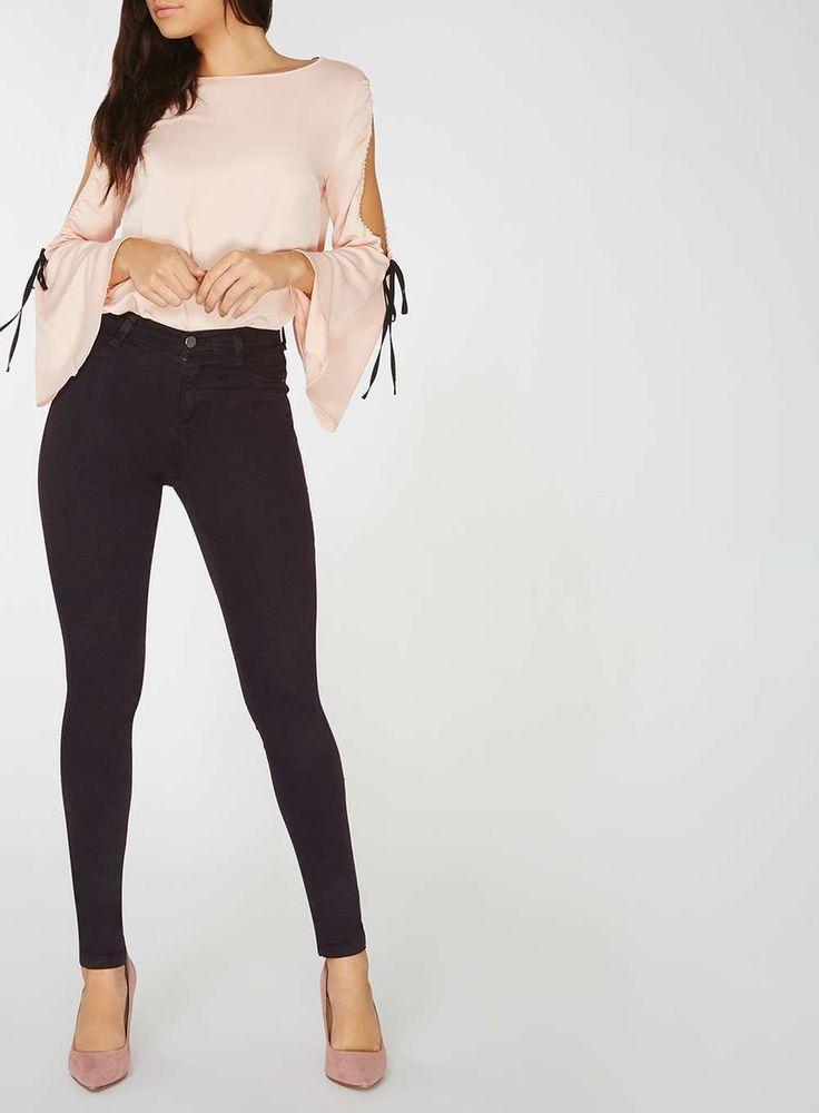 Womens Blackcurrant Colour Frankie Super Skinny Jeans- Purple