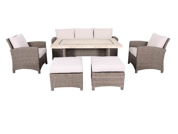 Mann/Cosimo 6 Seater Outdoor Lounge Dining Set | Furniture Online