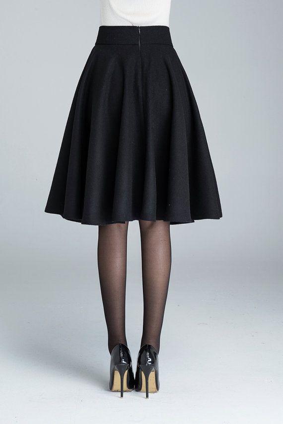 cc9bcbc7a5 Wool circle skirt, black skirt, winter skirt, skater skirt, knee length  skirt, woman skirt, pleated skirt, classic skirt, made to order 1633 in 2019  | skirt ...