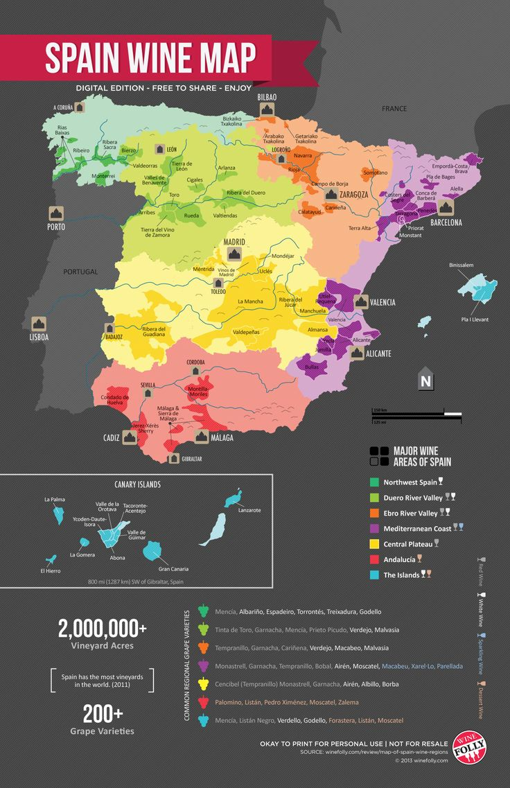"""""""Spain Wine Regions Map,"""" by Wine Folly -- """"Spain is a very diverse country so it helps to get a lay of the land. This map of the wine regions of Spain helps to put into context the various kinds of wines that grow throughout the country."""""""