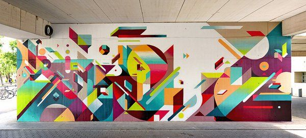 Nelio is a Lyon, France based street artist whose pieces are known for incredible murals made of symbols, geometric shapes, letters. Inspire by Picasso, his work blends abstract art, architecture, cubism, graphic design, creating strong visual impact and imaginations in one's mind.