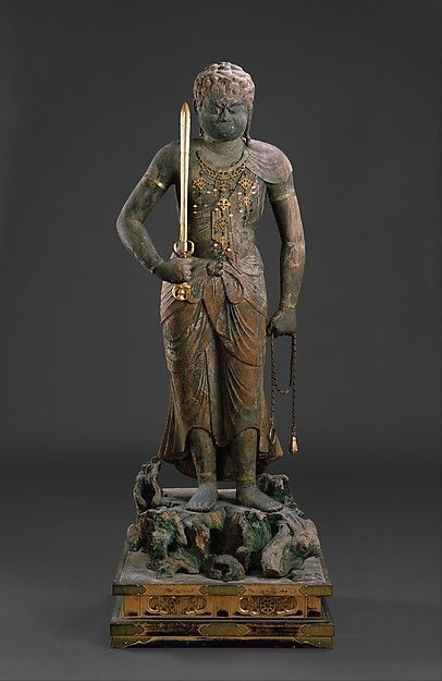 Fudō Myōō (Achala-vidyārāja), 12th century. Japan. The Metropolitan Museum of Art, New York. The Harry G. C. Packard Collection of Asian Art, Gift of Harry G. C. Packard, and Purchase, Fletcher, Rogers, Harris Brisbane Dick, and Louis V. Bell Funds, Joseph Pulitzer Bequest, and The Annenberg Fund Inc. Gift, 1975 (1975.268.163) | Fudō Myōō uses his sword to cut through ignorance and his lasso to reign in those who would block the path to enlightenment. #sword
