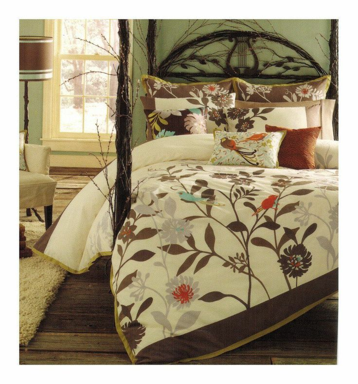 Daintree Bird Brown Leaves Blue Orange King Duvet Cover